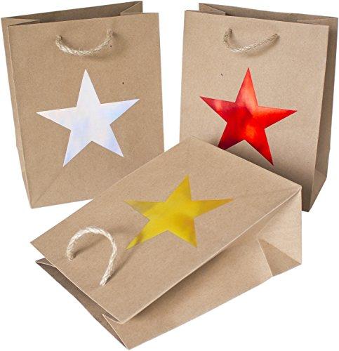 25 Geschenktaschen aus Papier mit Stern-Motiv, 3 Farben (10x rot, 8x gold, 7x silber)