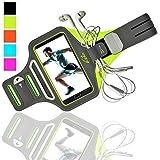 K-ZAR Universel Brassard de Sport Anti-Sueur pour iPhone 8/7 Plus 6/6s/5/5C/5S Samsung Galaxy S7/S6/S5 Jusqu'à 5.5 Pouces, Armband Ajustable Anti-Sueur avec Portes Clés et Cartes Attache-Câble - Vert