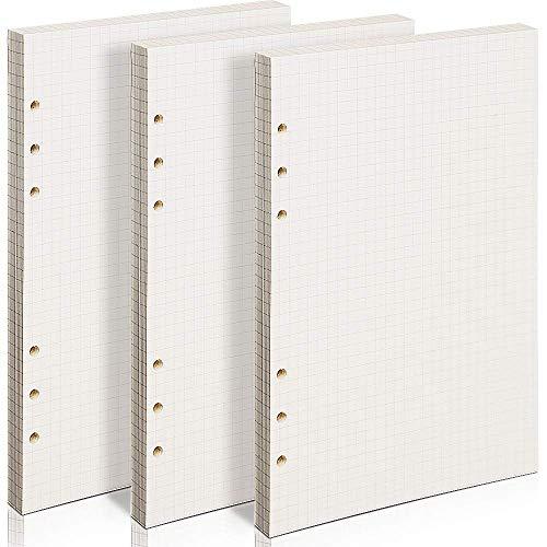 3 confezioni di fogli A5 a quadretti da 5 mm, 21 x 14,2 cm, carta a griglie ricaricabile, 180 fogli, 360 pagine, 6 fori per pianificazione, per lavoro matematico, disegni, uso personale