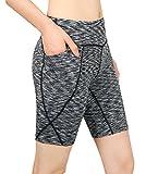 Cassiecy Damen Compression Sports Shorts Yoga Running Fitness Stretch Tights Kurze Hosen (S, Hellgrau)