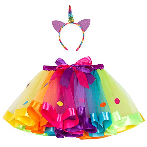 Canvalite Regenbogen Kostüm Set, 2 in 1 80er Mädchen Regenbogen Set - Regenbogen Ballet Tutu, Einhorn Haarreif für Tanz Party Karneval M