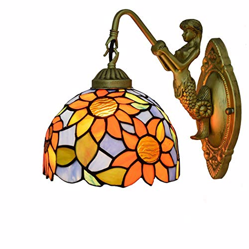 ZIHUAA Vintage_Wall_Light_Garden_Creative_Tiffany_Stained_Glass_Living_Room_Restaurant_Aisle_Corridor_Balcony_Sun_Flower_Wall_lamp,A