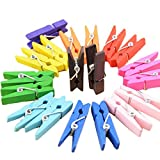 westeng 50Holz Foto Clips Peg Wäscheklammern Mini Kleidung Clip DIY Craft Memo Papier Clamp Clips Mehrfarbiges 3.5*0.8cm bunt