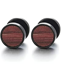 Men's Women's Black Circle Earrings Stainless Steel Ear Studs with Wood Fake Ear Plugs Cheater Tunnel Gauges Stainless Steel 01