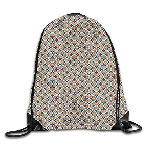 EELKKO Drawstring Backpack Gym Bags Storage Backpack, Abstract Mosaic with Half Spirals Forming Digital Circle Lace Display,Deluxe Bundle Backpack Outdoor Sports Portable Daypack Super Deluxe Lace