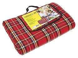 Idena 7570012 - Picknickdecke mit wasserabweisender Rückseite, ca. 170 x 200 cm, XXL, rot - kariert