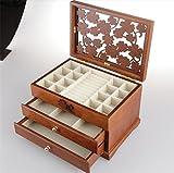 SHFANG Contenitore di monili antico a tre strati / contenitore di monili di erba naturale di legno massello di alta qualità naturale, contenitore di monili, regalo delle ragazze
