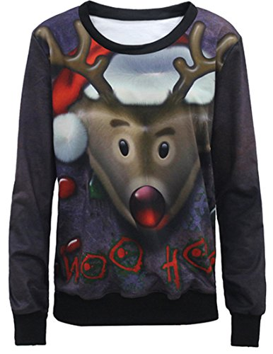 Belsen Femme Noël Sweat-shirts pull-over T-shirt elk
