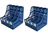 Cpixen Plastic File / Magazine / Book Rack with 4 Sections (PACK OF 2)