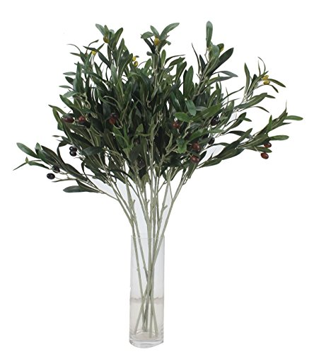 Duovlo 71,1cm Künstliche Grün Oliv Zweige Pflanzen Peace Blätter Blumen für Home Office Garten Dekoration, 5Stück (Künstliche Blätter Fallen)