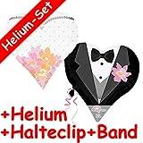 Folienballon Set * BRAUTPAAR IN HERZ-FORM + HELIUM FÜLLUNG + HALTE CLIP + BAND * für Kindergeburtstag oder Motto-Party // SUPERSHAPE // Folien Ballon Helium Deko Ballongas Motto Heirat Hochzeit Braut Bräutigam Paar