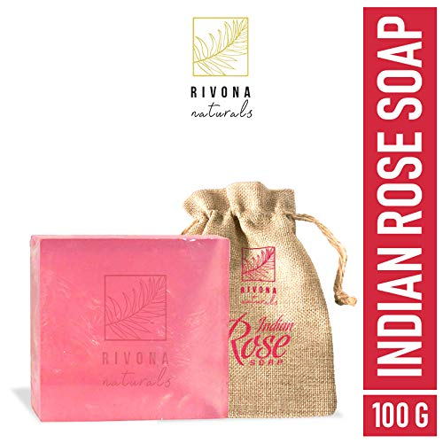 Rivona Naturals Indian Rose 100% Natural Organic Handmade Luxury Bath Soap | For Soothing, Moisturizing, Healing & Long Lasting - 100 g (Paraben & Sulphate Free)