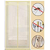 Magnetic Screen Door Mesh Curtain, Easy to Install Screen Door Magnetic Door Screen Pet Friendly Glass Fiber Sliding Door Screen Door Net Door Screen Mosquito Magic,creamy-white-100 * 220cm