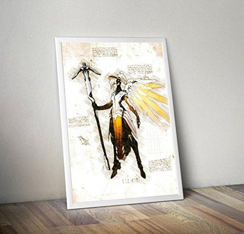 Poster in pergamena a3 (29x40cm) overwatch mercy