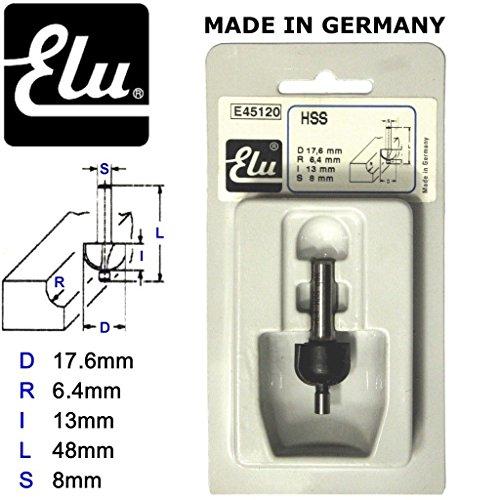 Elu e45120HSS Pin geführte Cove Router Bit Schere–8mm Schaft–d.17.6mm r.6.4mm (Schere Pin)
