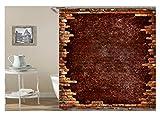 Amody 3D Digitaldruck Ziegelmauer Duschvorhang Bad Vorhang Durable Wasserdicht Bad Vorhang Rot Größe165X180