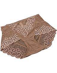 Bobury Women Sexy Briefs Panties Underwear Net Yarn High Waist Underpants Transparent Lingerie