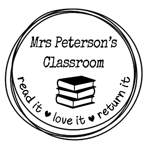 classroom book stamp read it love it return it Custom teacher name text Self inking return address business personalized name pre ink round stamp 1.5