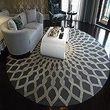 QIDI Teppich Schwarz Weiß Runde Teppich Wohnzimmer Couchtisch Musterraum (Größe : D-1m)
