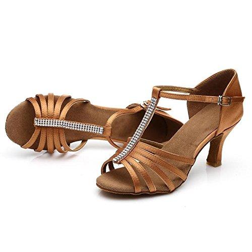 HROYL Damen Tanzschuhe/Latin Dance Schuhe Satin Ballsaal Modell-D7-227 7CM Braun