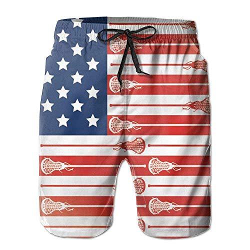 Beach Yoga Pants, Lacrosse Sticks USA Flag Yoga Workout Shorts for Men Boys, Outdoor Short Pants Beach Accessories,Size:XL Navy Blue Corduroy Pants