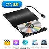 Yododo ottico DVD Drive esterno portatile USB 3.0 CD masterizzatore CD-RW, con cavo USB integrato per Mac Air/Pro laptop desktop, nero (nuova versione)