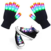 LED Gloves Shoelaces Set for Kids Adult Finger Flashing Light Up Christmas Party Dance Music Festival Glow Accessories Props Toys