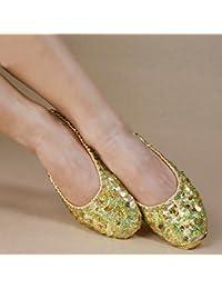 Calcifer® marca nueva egipcio Egipto zapatos de danza del vientre disfraz regalo para gran fiesta Navidad, dorado, mediano