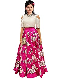 New Designer pink Colour Girls Semi Stitched Party Wear Kids Lehenga Choli_Comfortble To 11-15 Year Girls (Free Size sf_a pink07)