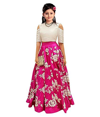 Shoryam Fashion Kids Party Wear Pink Banglory Silk Semi-Stitched Dress for Girl (Gown_Free Size_8-12 year Girl SF_ pink kids02)