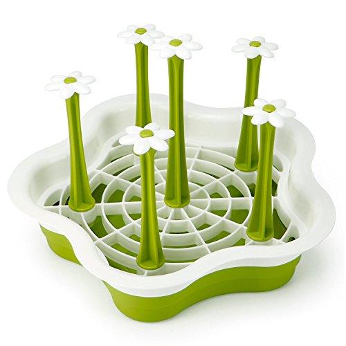HULISEN Abtropfgestell für die Küchenspüle, Kunststoff Blume Typ zum Trocknen Von Gläsern, Besteck, und Tellern, mit Besteckhalter - Grün