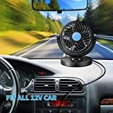 PRIKNIK Car Fan 12V 360 Degree Rotatable High Speed Quiet Strong Dashboard Auto