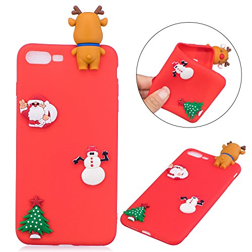e für iPhone 7 Plus/ iPhone 8 Plus, Silikon Hülle für iPhone 7 Plus/ iPhone 8 Plus, Komisch 3D Santa Claus Weihnachten Strumpf Hüte Serie Entwurf Ultra Dünnen Scratch Resistant Bumper Soft Rückseite Abdeckung Cover Tasche für iPhone 7 Plus/ iPhone 8 Plus (5,5 Zoll) 3D Weihnachten Santa Claus&Hirsch Rot (Red Santa Hüte)