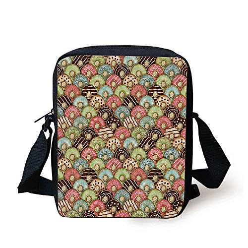 Tea Party,Colorful Delicious Donuts Sweet Breakfast Pastry Creamy Taste Bakery Food Theme Decorative,Multicolor Print Kids Crossbody Messenger Bag Purse
