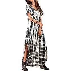 Zilcremo Mujer Verano Bohemios Maxi Vestidos Tie Dye De Hendidura Largos Vestidos Playa del Algodón Black XL