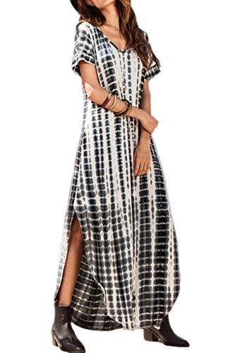 Vestidos Mujer Casual Playa Largos Verano Tie Dye Vestido Boho Hendidu