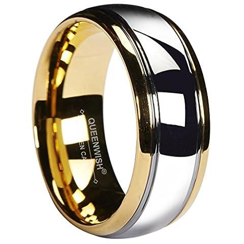 Queenwish 8mm Tungsten Carbide Wedding Band Gold Silver Dome Gunmetal Bridal Ring Men Jewellry