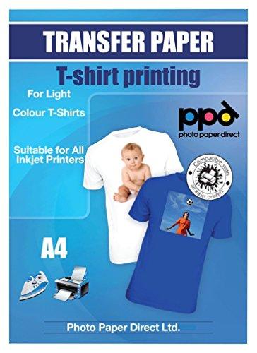 PPD Inkjet Transferpapier zum aufbügeln auf helle T-Shirts, DIN A4, 20 Blatt (T-shirt Folie Drucken)
