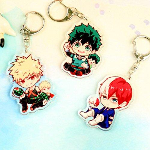 senschaft Anime Boku No Hero Wissenschaft izuku midoriya Cosplay Kostüm Zeichen Anhänger Schlüsselanhänger Key Ring (3PCS SET) ()