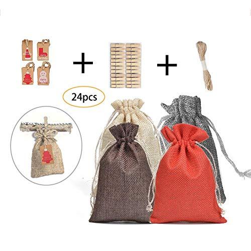 24 Stück Jutesäckchen Geschenktüten aus Säckchen mit Kordelzug, für Hochzeitsfeiern, Geschenkverpackung, Weihnachtsbeutel mit Etikett, Clip und Schnur -