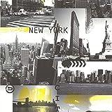 Vliestapete Manatthan und New York weiß schwarz gelb Funky 11030-44