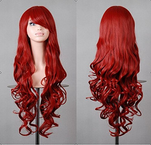 Beauty Smooth Hair 80cm Spiral Curly Cosplay Perücke (rot) (80's Halloween Kostüme Box)