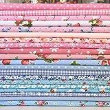 Baumwollmischgewebebündel von Shabby-Chic-Stoffen in Blau-
