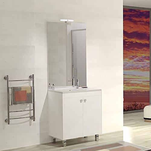 Meuble salle de bain ÉCOLINE 70 simple vasque résine – Blanc brillant