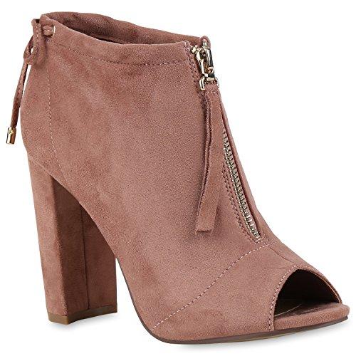 Damen Stiefeletten Sandal Boots High Heels Zipper Schuhe Rosa