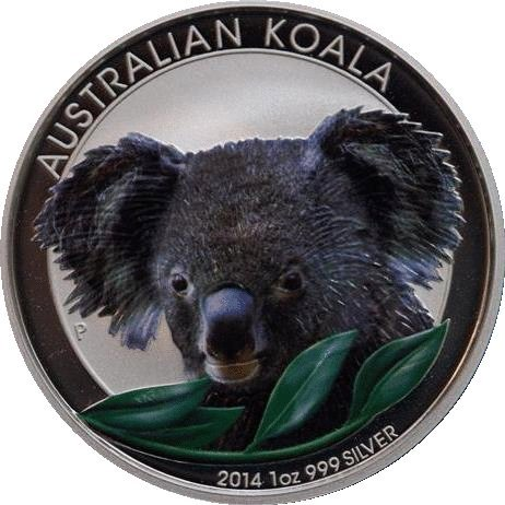 2014Unzen Australian Koala Silber BU Münze Farbige -