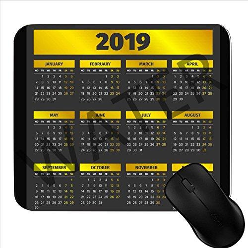 Alfombrilla de ratón para Videojuegos, 2019, con Calendario, 17,78 x 22,86 cm, Antideslizante, Base de Goma, Alfombrilla para ratón 1S16