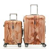 SHAIK® SH008 Designer Koffer Serie Marble - DEL 2X TSA Schloss Material Polyphthalamide (Grau, Set) (Orange)