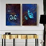 zgmtj Arte Abstracto de la Pared Arte de la Lona de la Mariposa Pintura nórdica Carteles e Impresiones Decoración del hogar Imágenes de la Pared para la decoración de la Sala de Estar