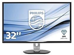 Philips BDM3270QP/00 81 cm (32 Zoll) Monitor (VGA, HDMI, DisplayPort, 4 x USB, 2560 x 1440, 60 Hz, 5 ms, Pivot) schwarz